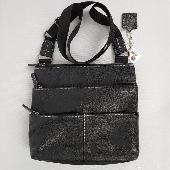 Roots Black Leather Crossbody Purse